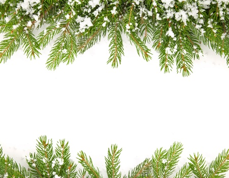 Christmas framework with snow isolated on white background Фото со стока