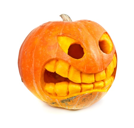 Halloween pumpkin isolated on a white background photo