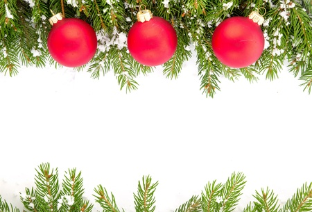 christmas decorations with white background: Christmas green  framework isolated on white background