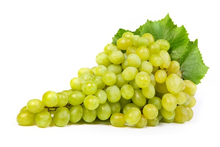 grapes on vine: Bunch of fresh grapes isolated on white