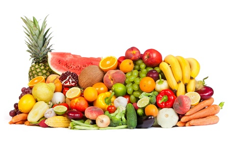 Huge group of fresh vegetables and fruits isolated on a white background. Shot in a studio Stock Photo - 15767204
