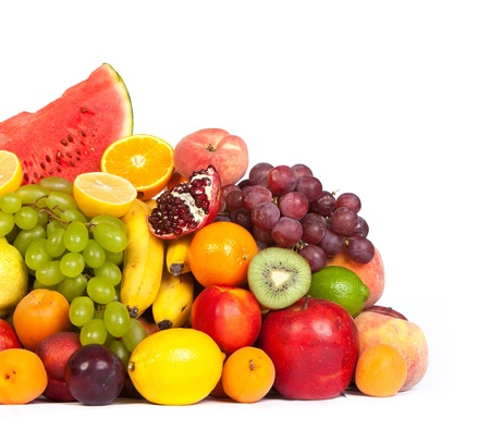 Huge group of fresh fruits isolated on a white background. Shot in a studio photo