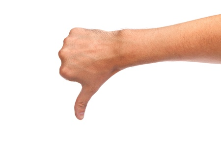 Thumb down male hand sign isolated on a white bakground Stock Photo - 15767196