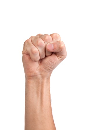 clenched fist: Hand with clenched a fist, isolated on a white background