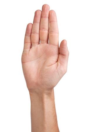 Muž palmu gesto ruky, izolovaných na bílém pozadí