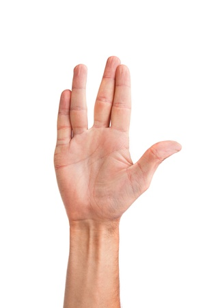 male palm: Male palm hand vulcan gesture, isolated on a white background