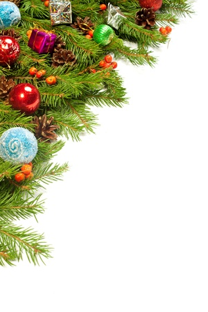 fir cones: Christmas background with balls and decorations isolated on white background Stock Photo