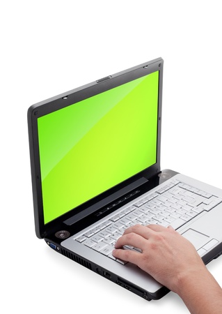 powerbook: Open laptop showing keyboard and screen  isolated on white background  Stock Photo