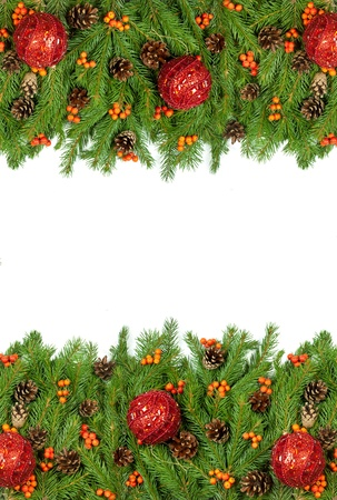 hollyberry: Christmas background with balls and decorations isolated on white background Stock Photo