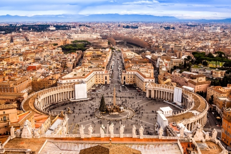 Rome, Italy. Famous Saint Peters Square in Vatican and aerial view of the city. Reklamní fotografie