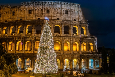 christmas in the city: The Iconic, the legendary Coliseum of Rome, Italy on christmas