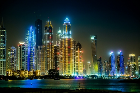 Dubai downtown night scene with city lights, luxury new high tech town in middle East, United Arab Emirates architecture Archivio Fotografico