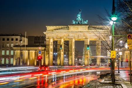 brandenburg: BRANDENBURG GATE, Berlin, Germany at night. Road side view