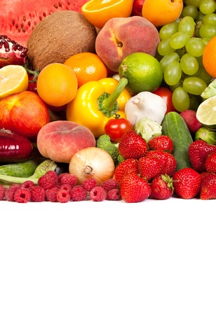 Huge group of fresh vegetables and fruits isolated on a white background. Shot in a studio Stock Photo - 17634933