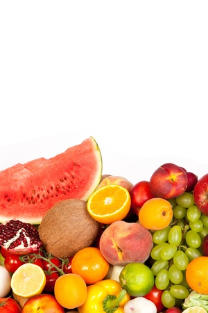 Huge group of fresh vegetables and fruits isolated on a white background. Shot in a studio Stock Photo - 17634978