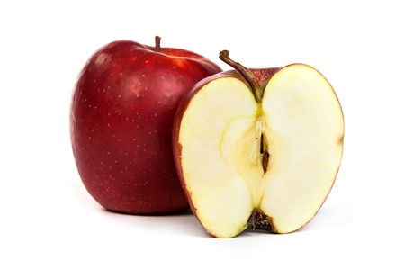 Cross section of red apple, showing pips, and core. Isolated on white, photo