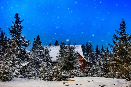 log cabin in snow: winter rime and snow covered Christmas fir trees on mountainside. Mountain house during the winter