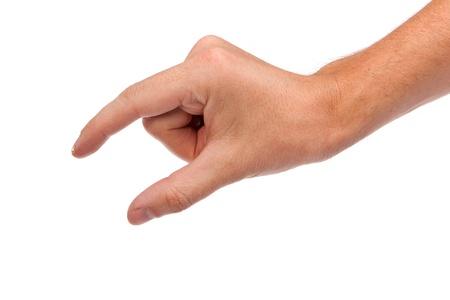 grabbing hand: Well shaped male hand reaching for something isolated on a white background