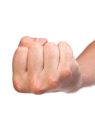 Hand with clenched a fist, isolated on a white background Stock Photo - 17634463