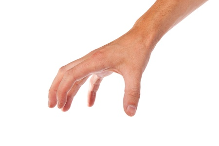 Well shaped male hand reaching for something isolated on a white background