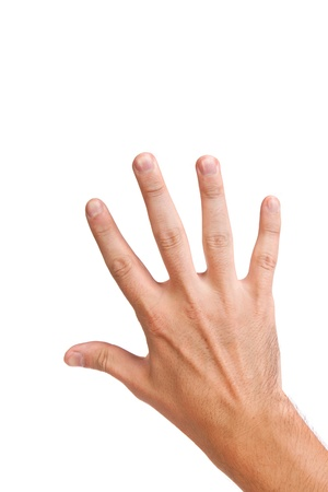 Male hand gesture number five closeup isolated on a white background photo