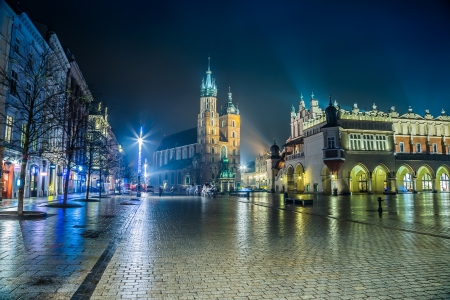 cracow: Krakow old city at night. Market Square at night.