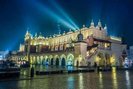 Krakow old city at night. Market Square at night.