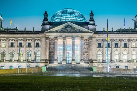 Reichstag building in Berlin, Germany on christmas photo
