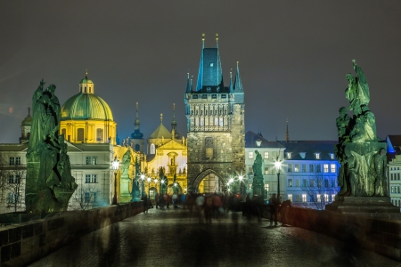 Karlov or charles bridge in Prague at night