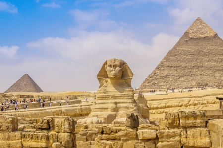 Sphinx and the Great Pyramid in the Egypt Stock Photo