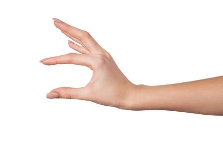 Dobře tvarované Ženská ruka sahá po něčem izolovaných na bílém pozadí Reklamní fotografie