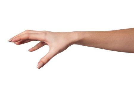 Eh bien, en forme de main Femme pour atteindre quelque chose isolé sur un fond blanc