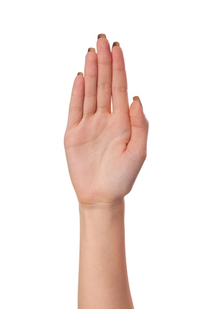 body expression: Female palm hand gesture, isolated on a white background