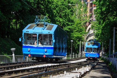 Cable railway in Kyiv, Ukraine, that climbs up the steep right bank of the Dnieper River. photo