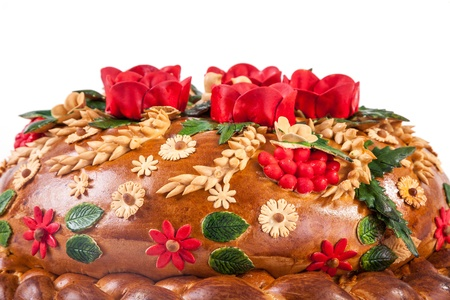 Ukrainian festive bakery Holiday Bread isolated on a white background photo