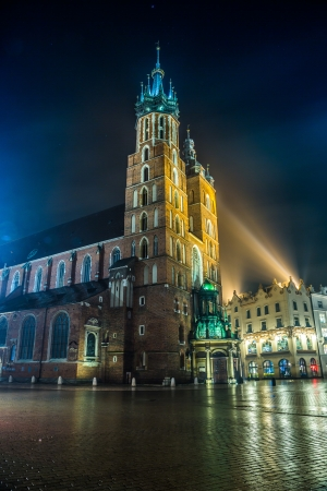 Krakow old city at night St. Mary's Church at night. Krakow Poland. photo