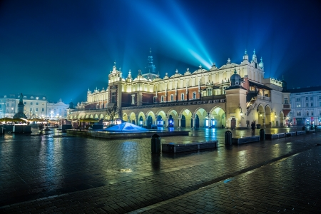 Krakow old city at night. Market Square at night. photo