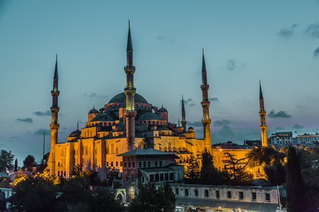 Blue Mosque in Istanbul, Turkey View at early evening. Sultan Ahmed Mosque photo