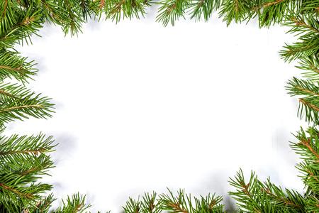 marcos decorados: Navidad marco verde aislado sobre fondo blanco