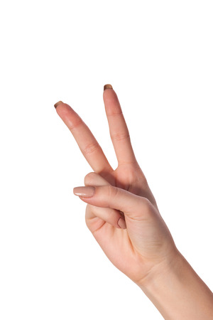 victory sign: Hand with two fingers up in the peace or victory symbol. Also the sign for the letter V in sign language. Isolated on white.