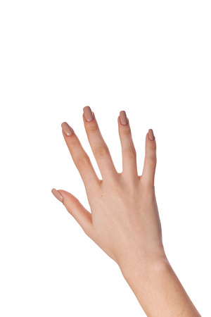Female hand gesture number five closeup isolated on a white background photo