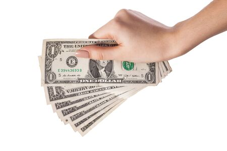 Woman hand with dollars isolated on white background photo