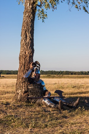 squire: Medieval knight in the field with an axe Stock Photo