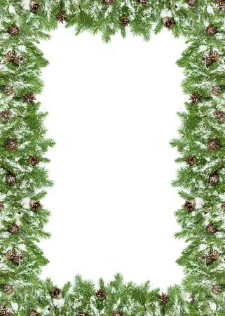 marcos decorados: Fondo de la Navidad con nieve y conos aislados en blanco Foto de archivo