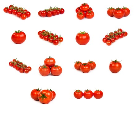 set of tomatoes isolated over white background photo