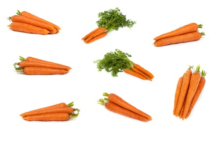 set of Bunch of fresh carrots isolated on a white background photo