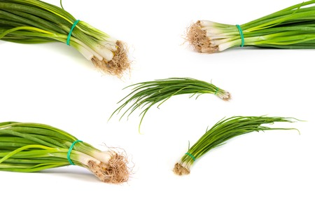 set of Fresh scallions isolated on a white background with soft shadow. Stock Photo