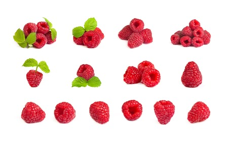 Set of a bunch of a red raspberry on a white background. Close up macro shot. Image was professionally retouched photo