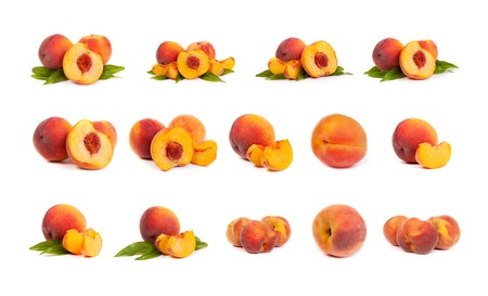 Set of perfect, ripe peaches with slices isolated on a white background. photo