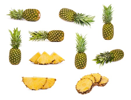 set of pineapples isolated on a white background photo
